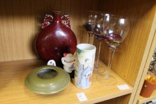 Chinese ceramics and decorative drinking glasses.