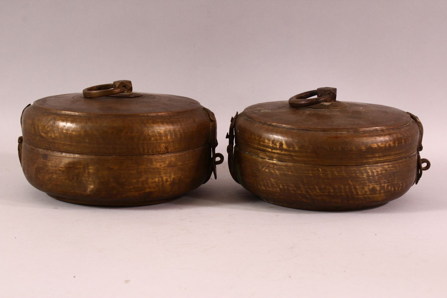 A PAIR OF INDIAN SPICE BOXES, both with hinged lid and handle to top, both approx. 21cm diameter. - Image 4 of 6