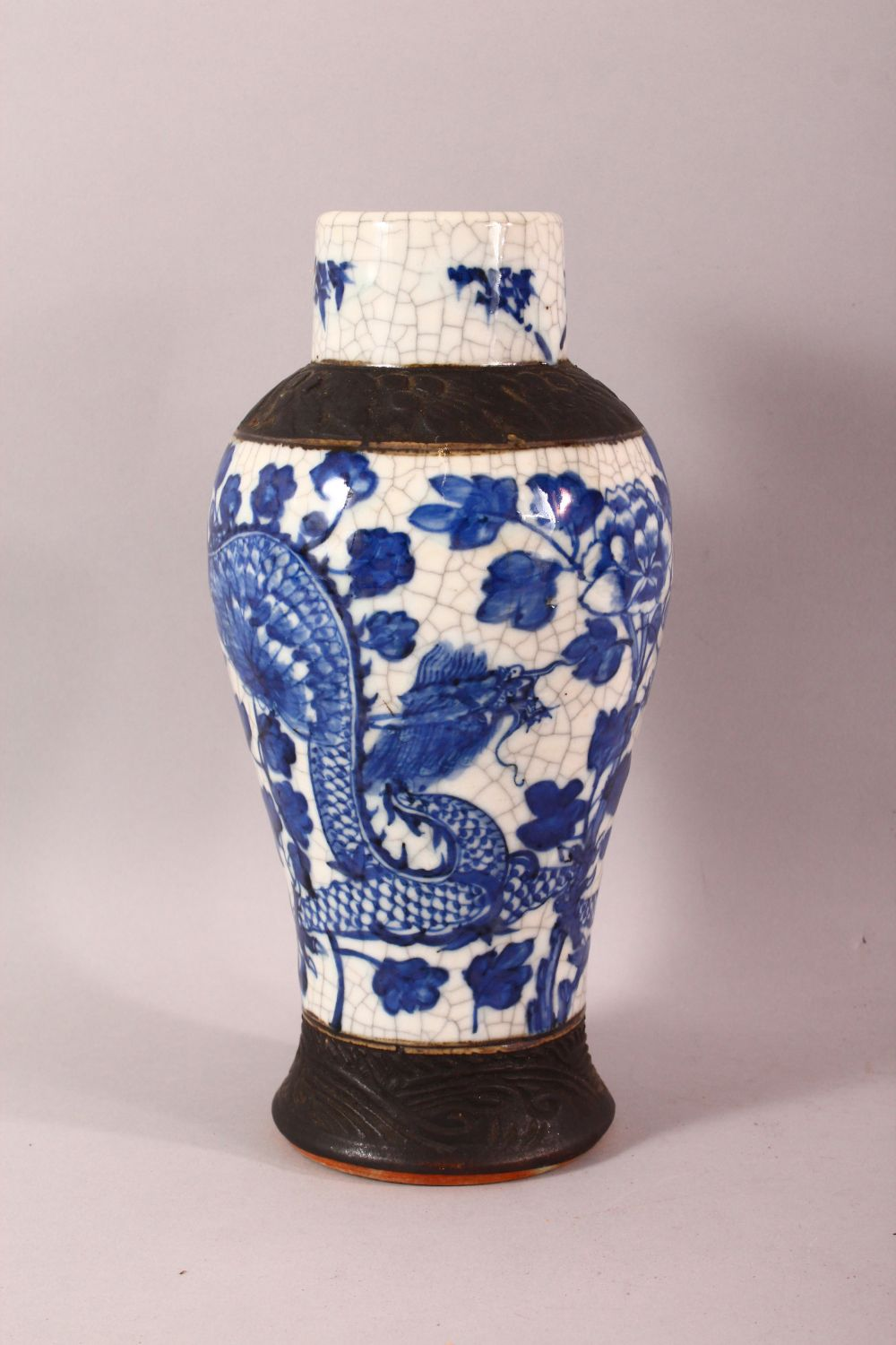 TWO 19TH CENTURY CHINESE BLUE & WHITE PORCELAIN VASES & ONE COVER, the body of the vases decorated - Image 2 of 10