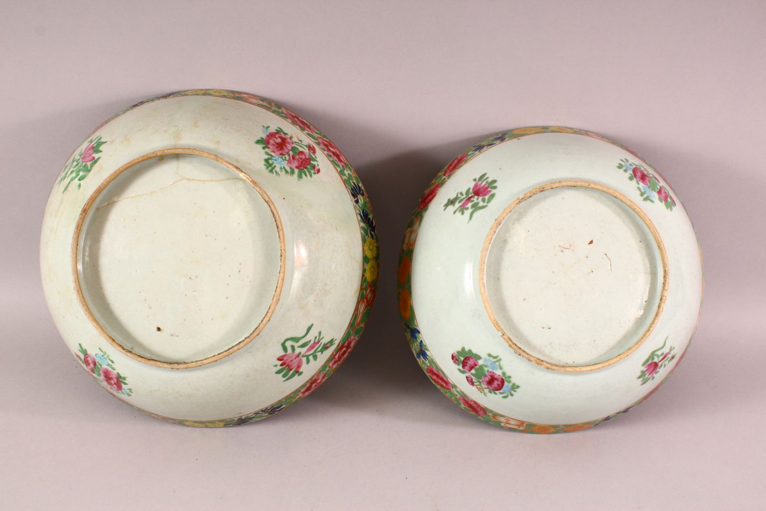 TWO 18TH / 19TH CENTURY CHINESE FAMILLE ROSE PORCELAIN BOWLS, each decorated with bands of flora, ( - Image 5 of 5