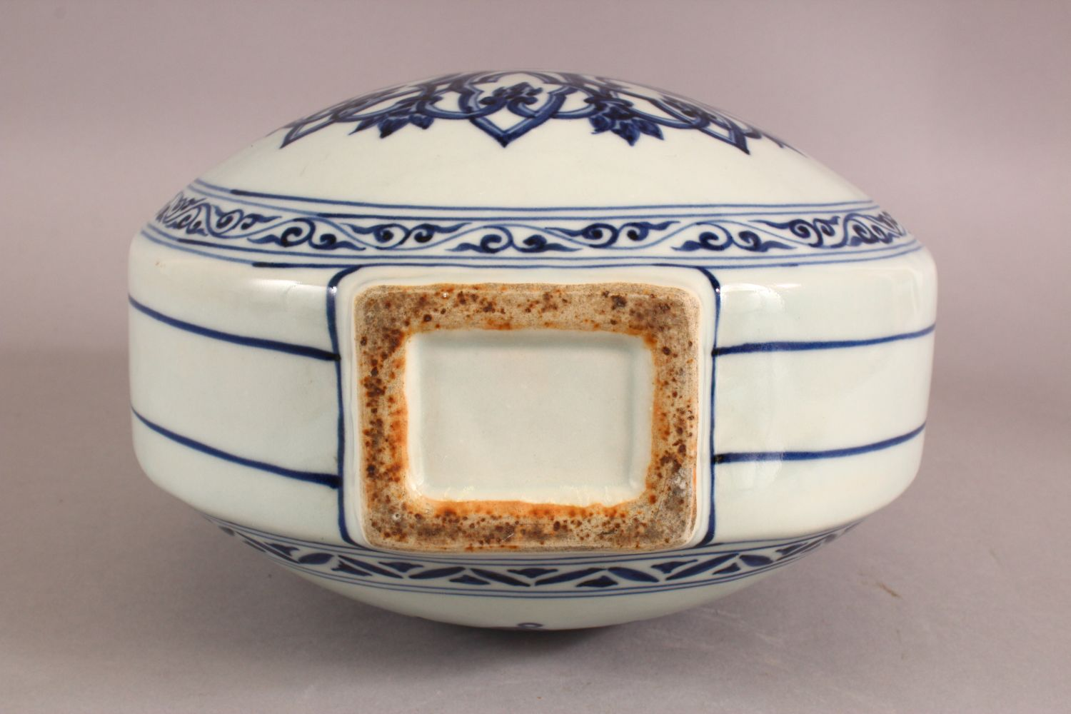 A CHINESE BLUE AND WHITE TWIN HANDLED PORCELAIN MOON FLASK, painted with stylised motifs, six - Image 6 of 6