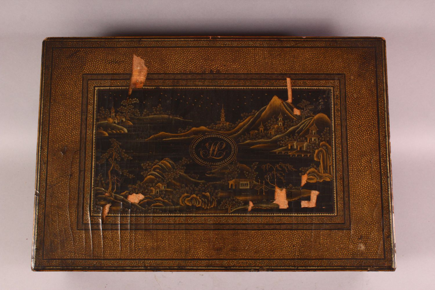 A CHINESE EXPORT LACQUER AND GILT SEWING BOX, the box containing lift out tray with nine - Image 6 of 7