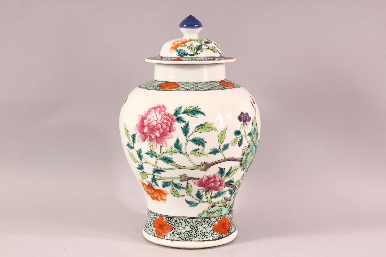 A CHINESE FAMILLE ROSE PORCELAIN JAR & COVER - decorated with scenes of native floral landscape - Image 2 of 8