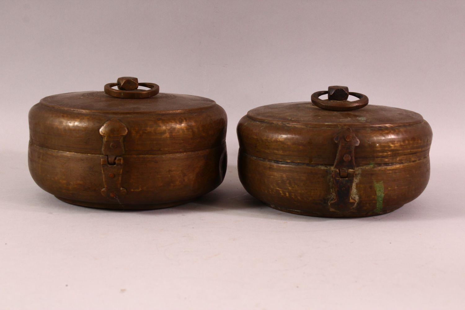 A PAIR OF INDIAN SPICE BOXES, both with hinged lid and handle to top, both approx. 21cm diameter. - Image 3 of 6