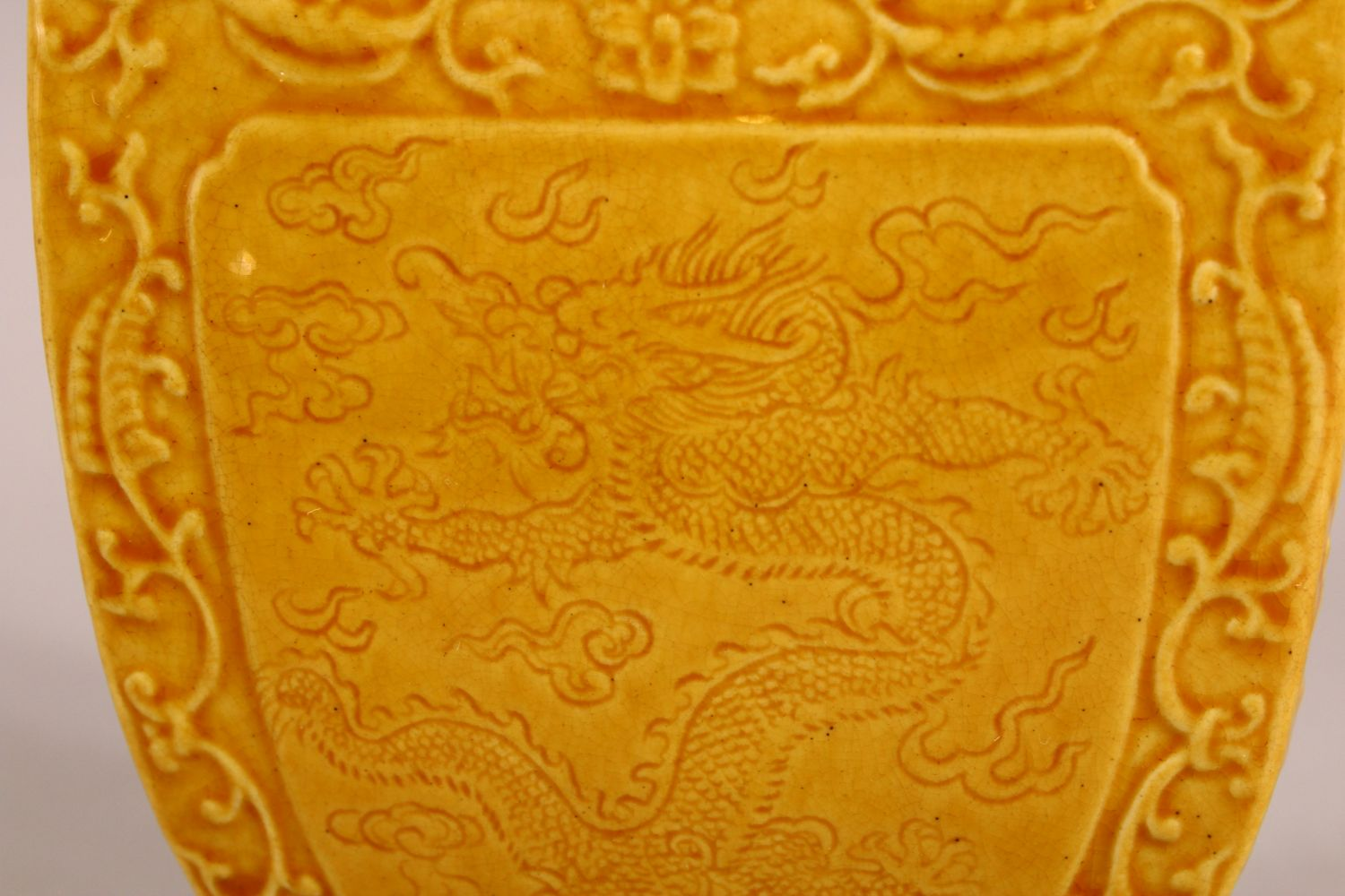 A SMALL CHINESE YELLOW GROUND SQUARE FORM VASE, with relief decoration of bats and stylised flora, - Image 3 of 6