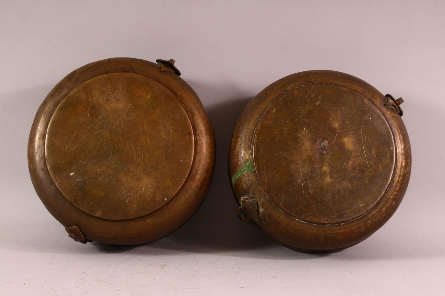 A PAIR OF INDIAN SPICE BOXES, both with hinged lid and handle to top, both approx. 21cm diameter. - Image 6 of 6