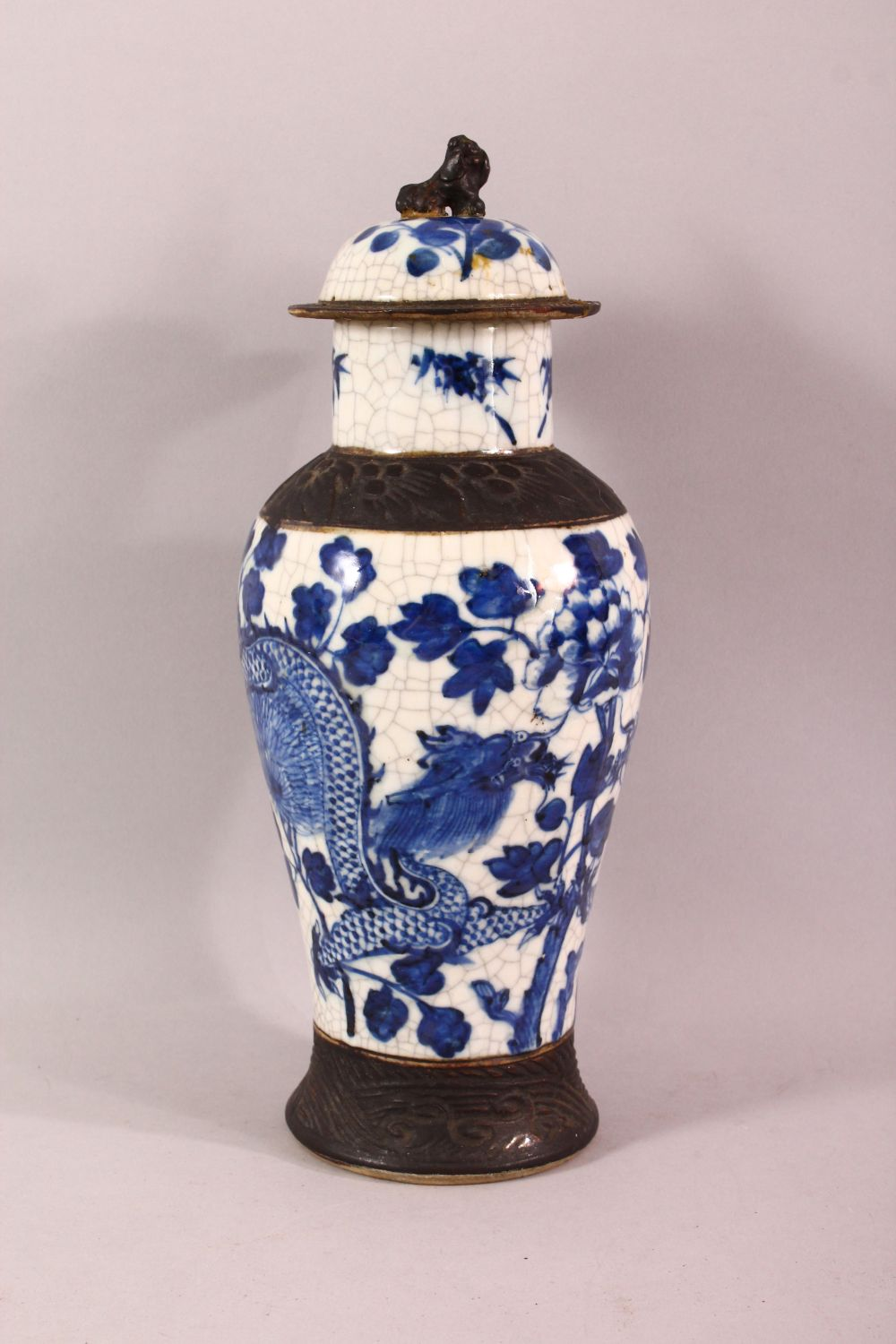 TWO 19TH CENTURY CHINESE BLUE & WHITE PORCELAIN VASES & ONE COVER, the body of the vases decorated - Image 4 of 10