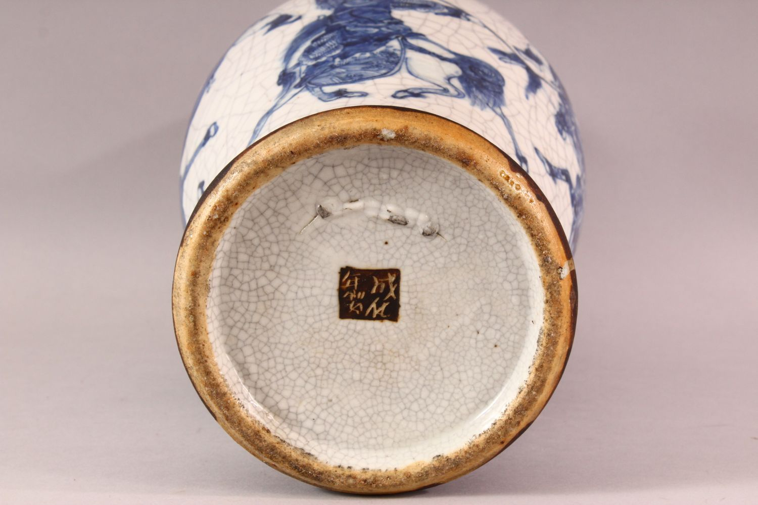 A LARGE 19TH CENTURY CHINESE BLUE & WHITE PORCELAIN VASE, decorated with scenes of warriors , with - Image 7 of 8