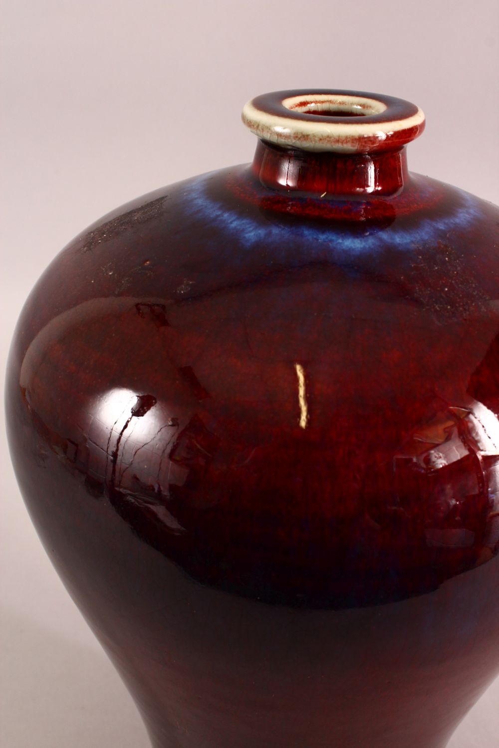 A CHINESE RED AND PURPLE FLAMBE GLAZED VASE, 33cm high. - Image 3 of 5