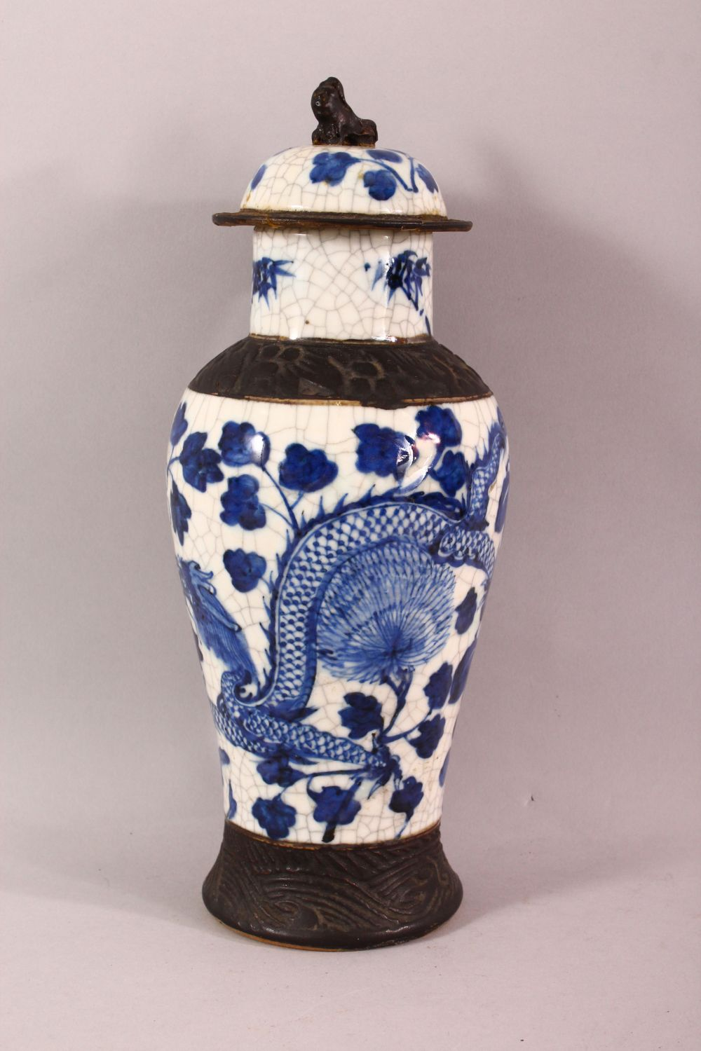 TWO 19TH CENTURY CHINESE BLUE & WHITE PORCELAIN VASES & ONE COVER, the body of the vases decorated - Image 5 of 10
