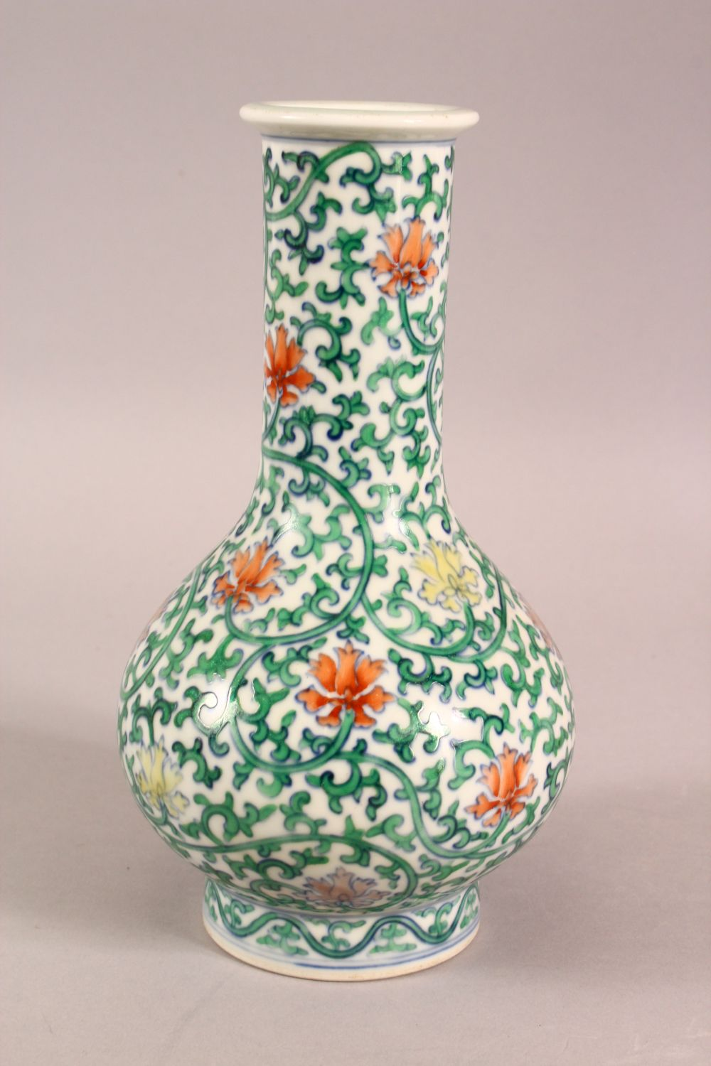 A SMALL CHINESE FAMILLE VERTE PORCELAIN VASE, profusely painted with flowers and vines, six - Image 2 of 6
