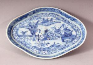 A CHINESE BLUE & WHITE PORCELAIN LANDSCAPE DISH - 19cm wide.