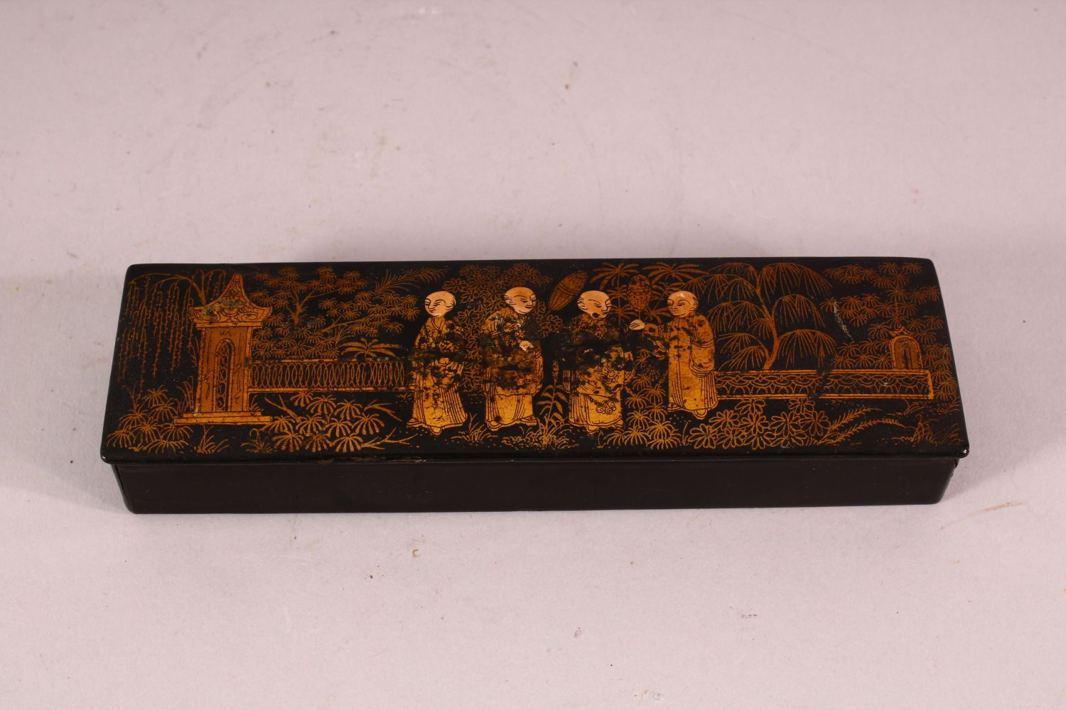 THREE CHINESE GILT LACQUER PIECES, comprising of one pen box, one smaller box and one match box/ - Image 2 of 5