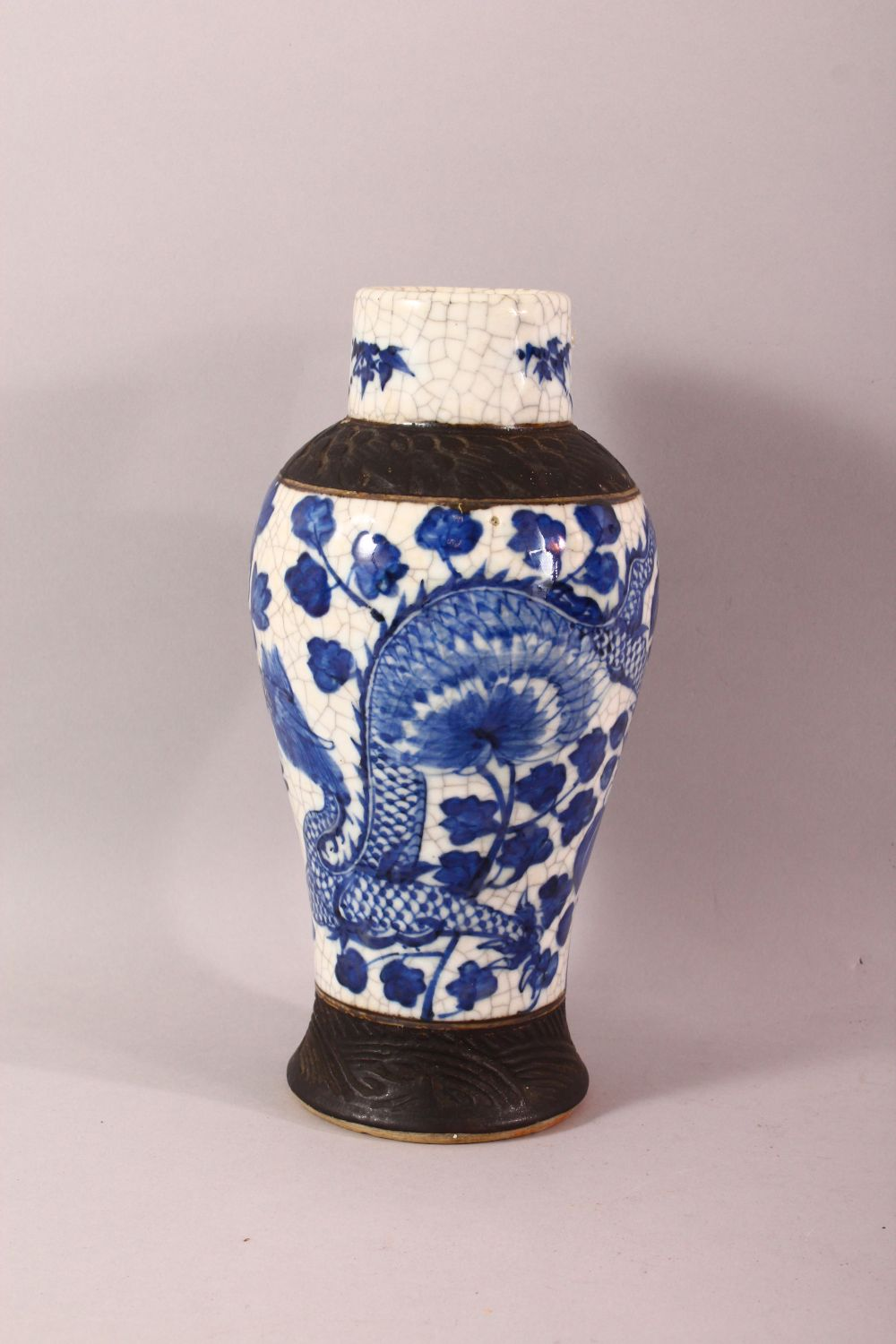 TWO 19TH CENTURY CHINESE BLUE & WHITE PORCELAIN VASES & ONE COVER, the body of the vases decorated - Image 3 of 10