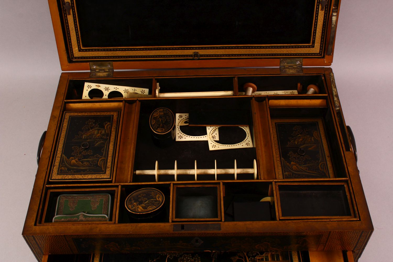 A CHINESE EXPORT LACQUER AND GILT SEWING BOX, the box containing lift out tray with nine - Image 4 of 7