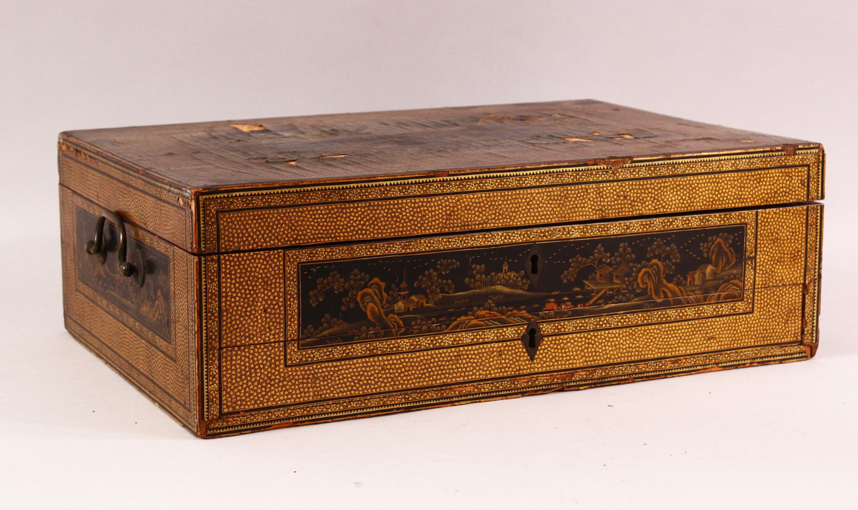 A CHINESE EXPORT LACQUER AND GILT SEWING BOX, the box containing lift out tray with nine