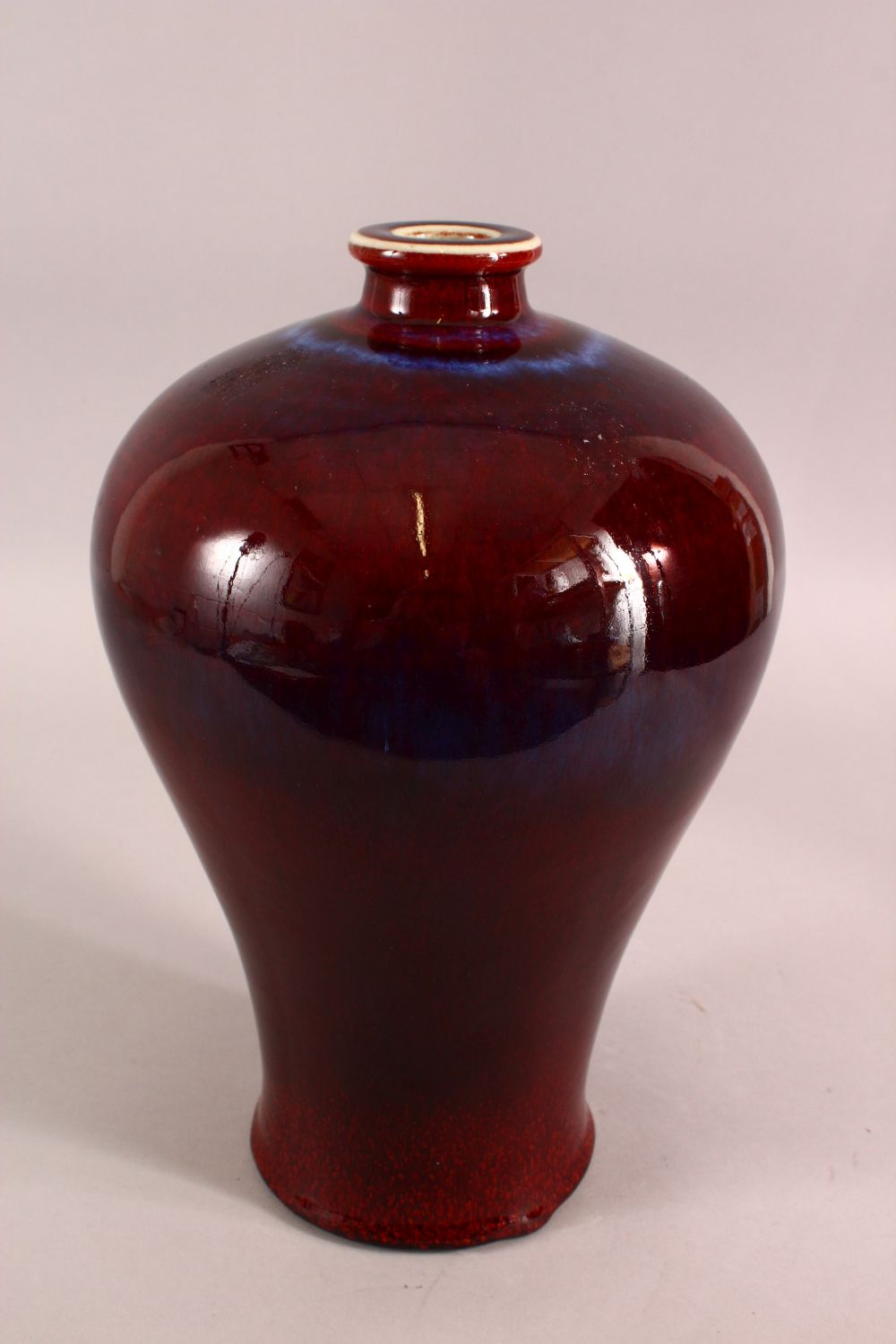 A CHINESE RED AND PURPLE FLAMBE GLAZED VASE, 33cm high. - Image 2 of 5
