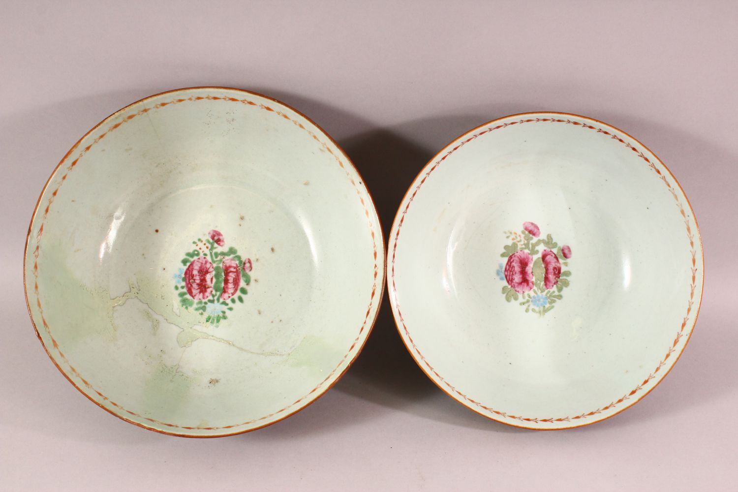TWO 18TH / 19TH CENTURY CHINESE FAMILLE ROSE PORCELAIN BOWLS, each decorated with bands of flora, ( - Image 2 of 5