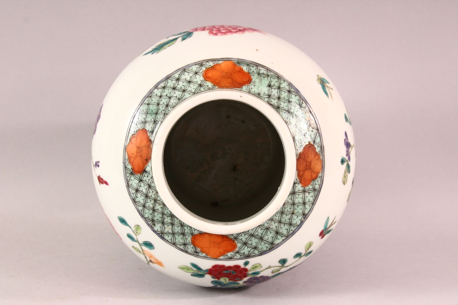 A CHINESE FAMILLE ROSE PORCELAIN JAR & COVER - decorated with scenes of native floral landscape - Image 6 of 8