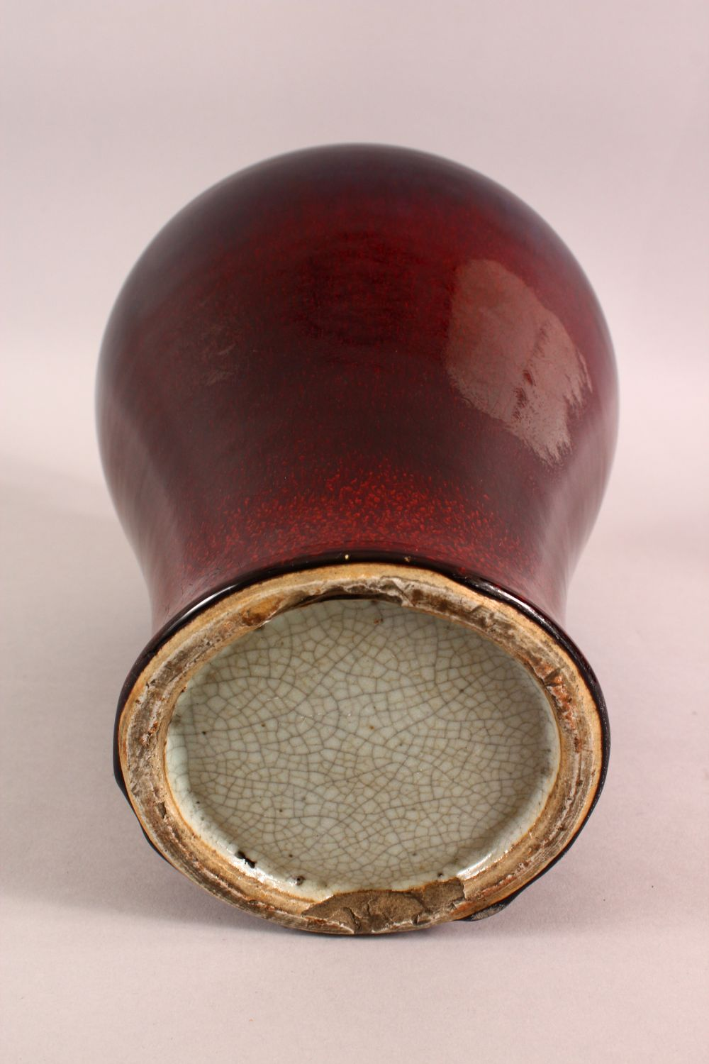 A CHINESE RED AND PURPLE FLAMBE GLAZED VASE, 33cm high. - Image 5 of 5