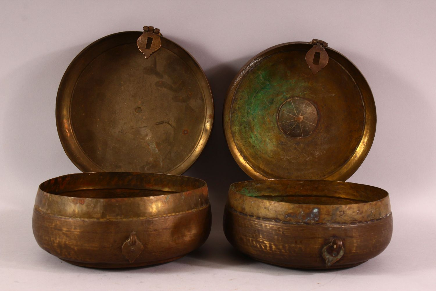 A PAIR OF INDIAN SPICE BOXES, both with hinged lid and handle to top, both approx. 21cm diameter. - Image 5 of 6
