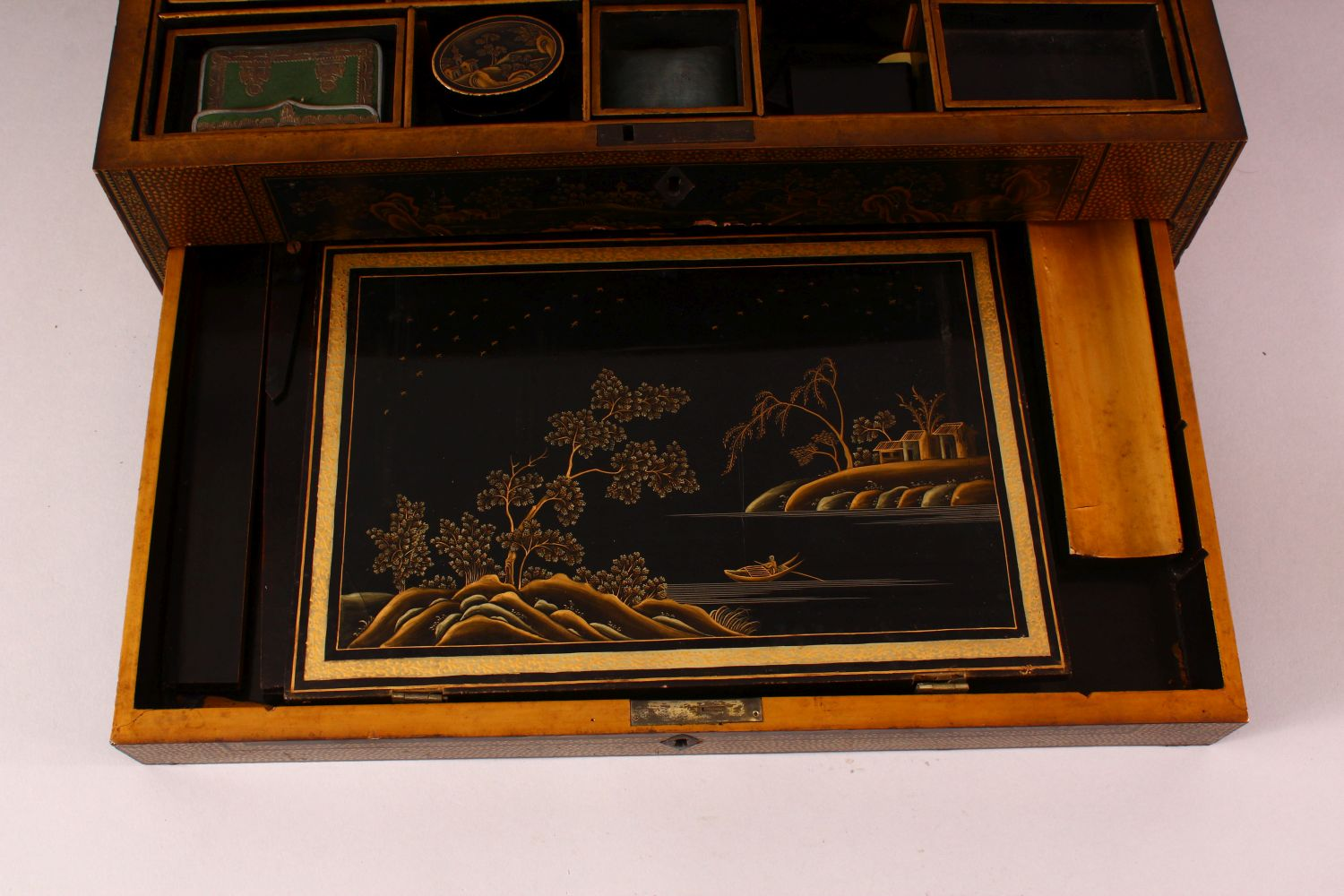A CHINESE EXPORT LACQUER AND GILT SEWING BOX, the box containing lift out tray with nine - Image 5 of 7