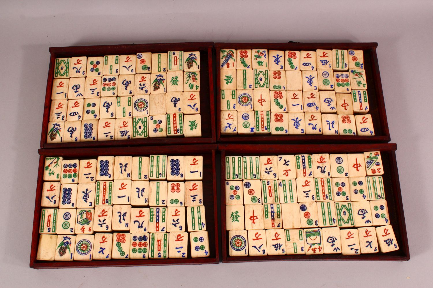 A CHINESE BAMBOO & BONE BOXED MAHJONG SET - comprising 56 drawers full of counters and sticks, - Image 2 of 6