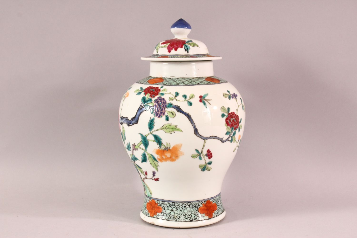 A CHINESE FAMILLE ROSE PORCELAIN JAR & COVER - decorated with scenes of native floral landscape - Image 4 of 8