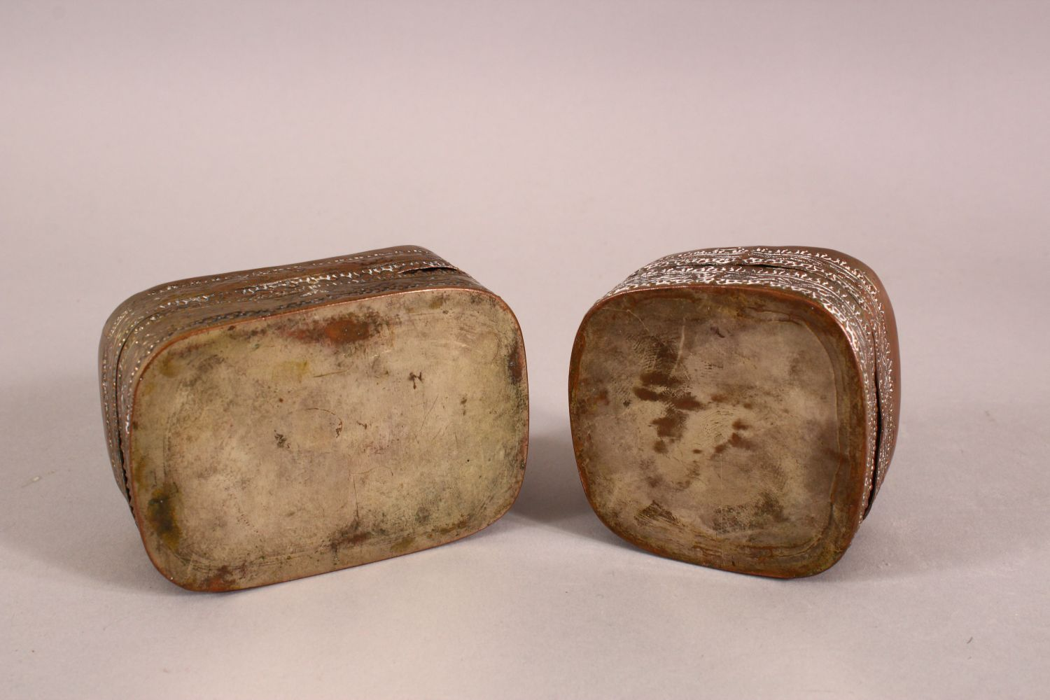 TWO 19TH CENTURY CHINESE BLUE AND WHITE PORCELAIN AND METAL POWDER BOXES, the metal mounts - Image 3 of 3