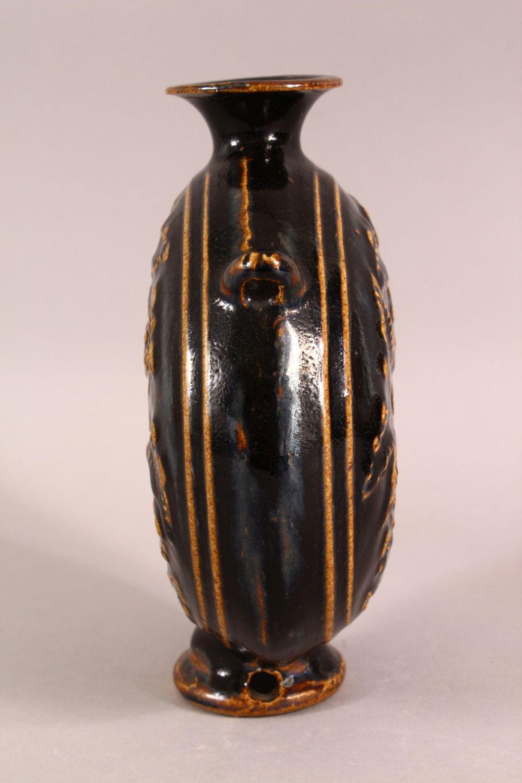 A SMALL JIZHOU KILN POTTERY MOON VASE, 21cm high, 18cm wide. - Image 2 of 6