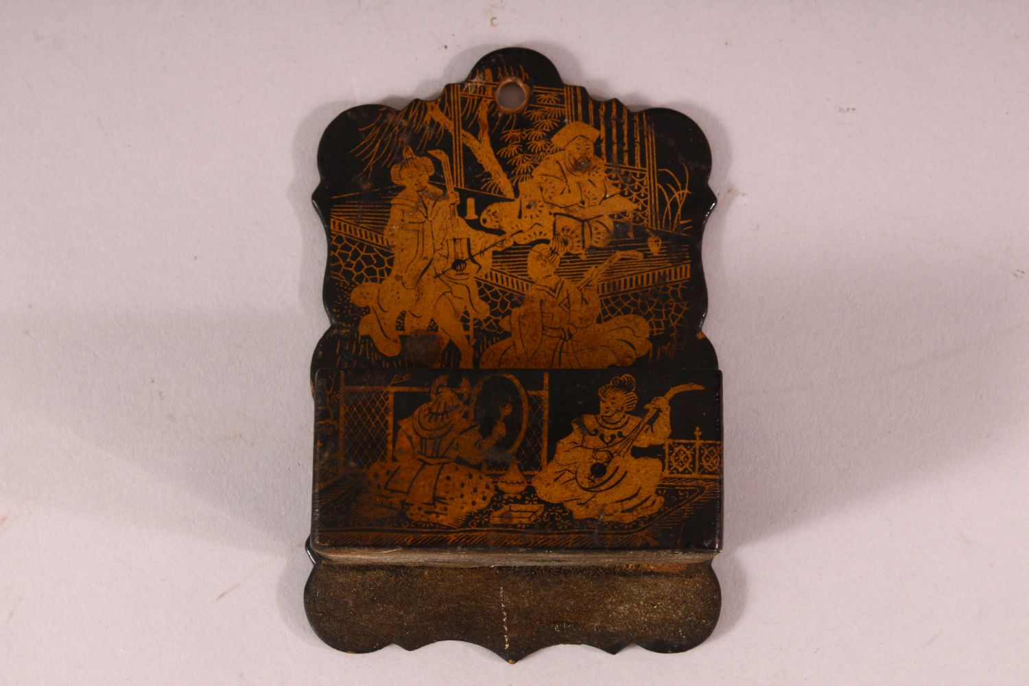 THREE CHINESE GILT LACQUER PIECES, comprising of one pen box, one smaller box and one match box/ - Image 5 of 5