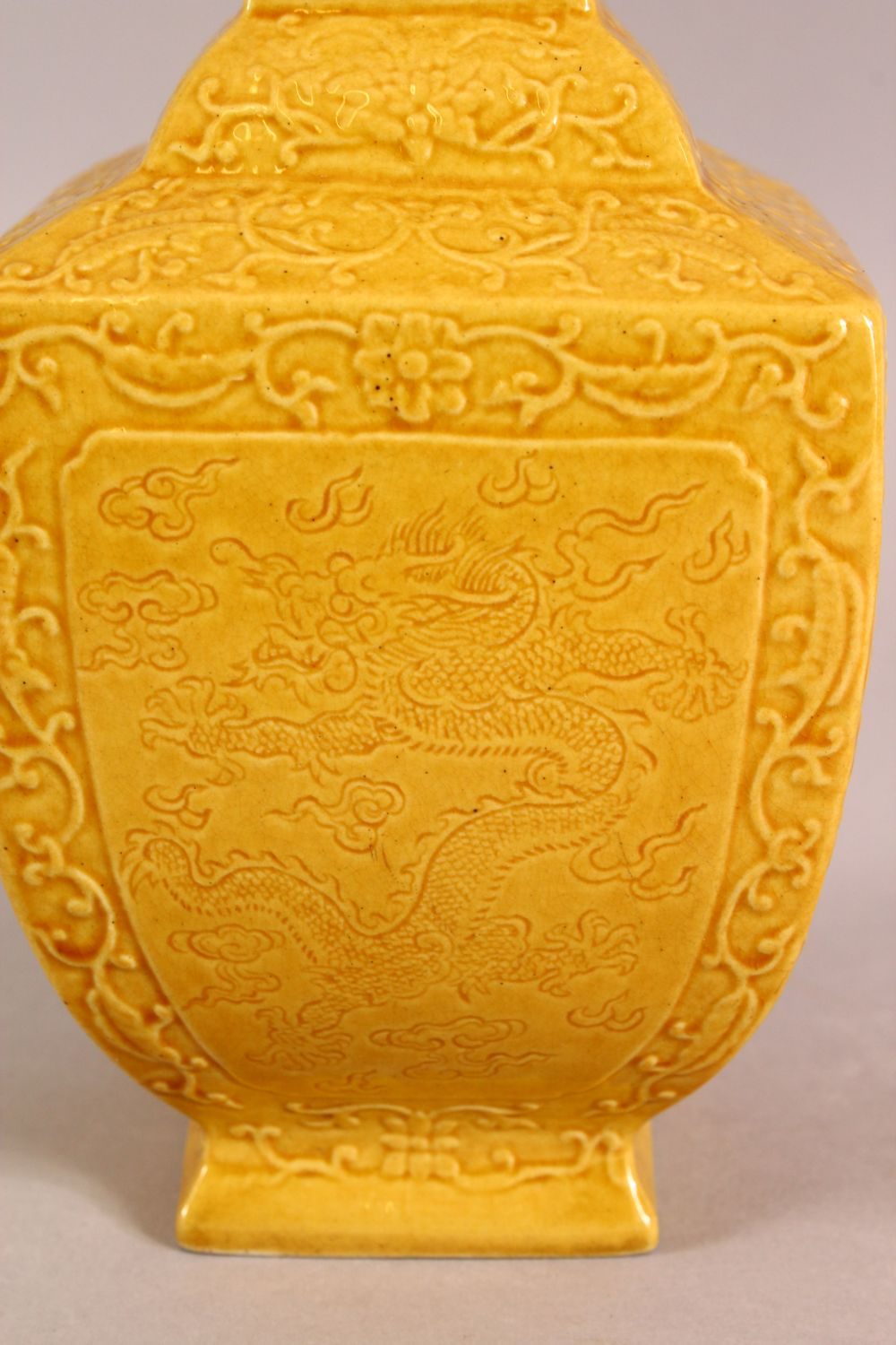 A SMALL CHINESE YELLOW GROUND SQUARE FORM VASE, with relief decoration of bats and stylised flora, - Image 2 of 6