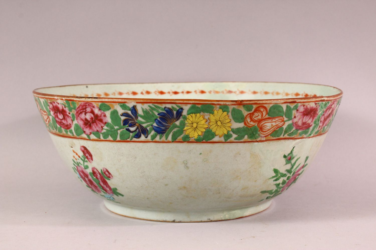 TWO 18TH / 19TH CENTURY CHINESE FAMILLE ROSE PORCELAIN BOWLS, each decorated with bands of flora, ( - Image 3 of 5