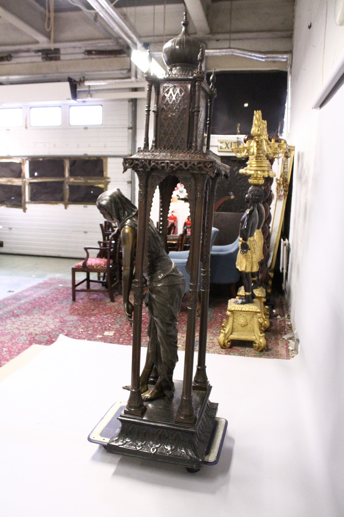 A SUPERB LARGE 19TH CENTURY FRENCH BRONZE OF AN ISLAMIC YOUNG LADY standing in an arbour with four - Image 7 of 9