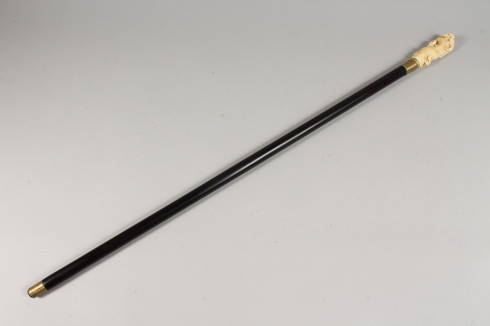 A WALKING STICK, the bone handle carved as rats. - Image 5 of 5