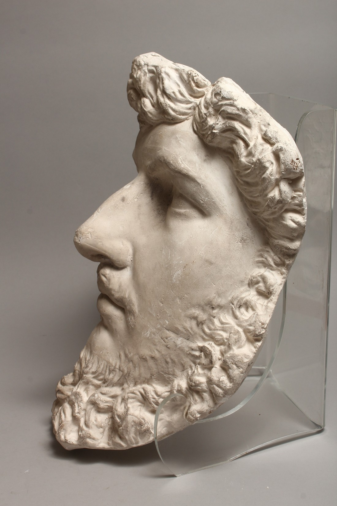 A RUSSIAN LARGE PLASTER HEAD OF A MAN 14ins long - Image 3 of 4