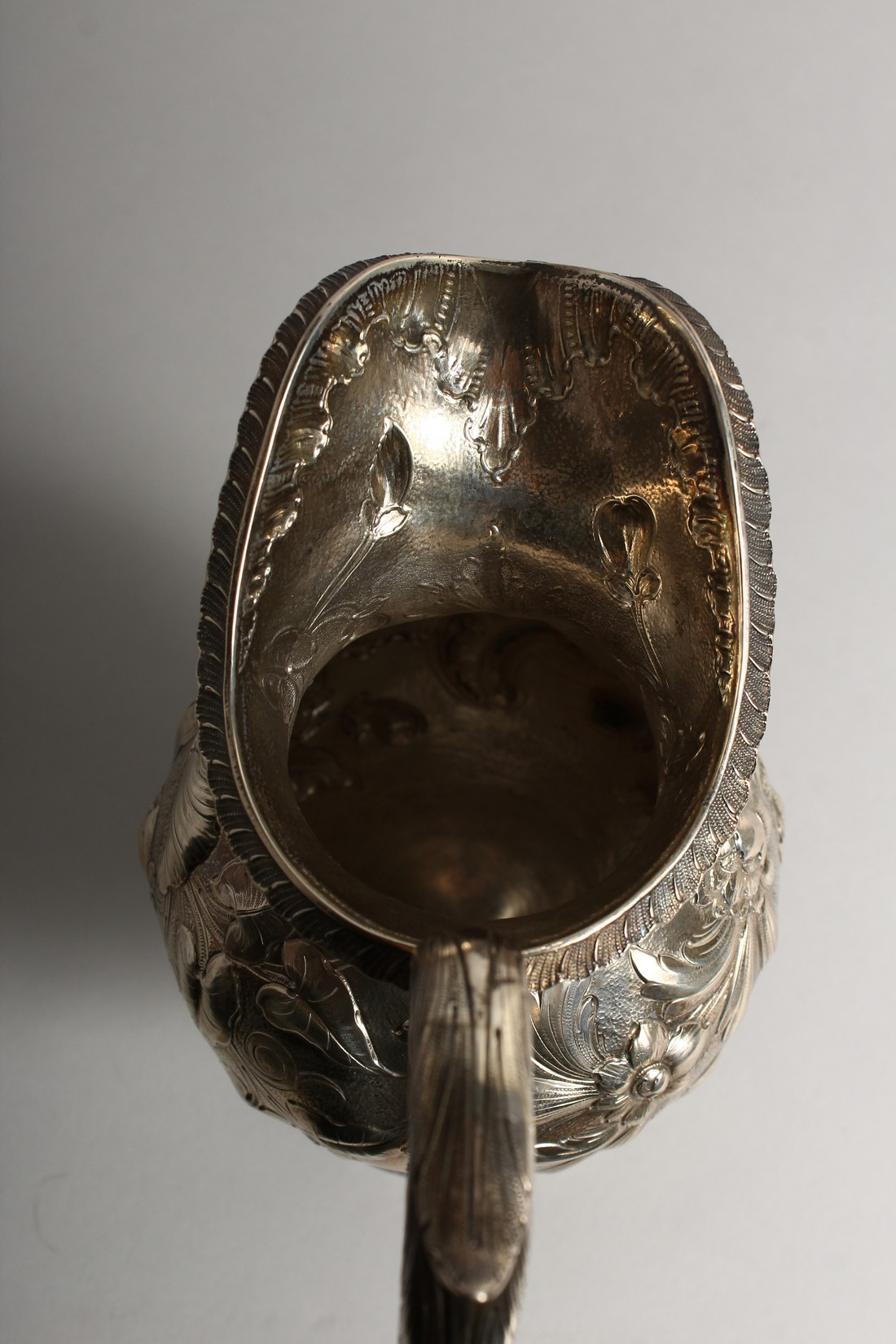 AN R & W WILSON 19TH CENTURY PHILADELPHIA SILVER JUG repousse with flowers and scrolls 8ins high, - Image 6 of 8