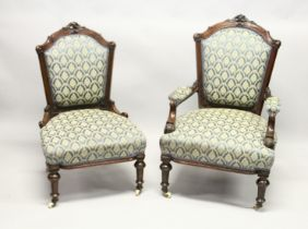 A GOOD VICTORIAN MAHOGANY FRAMED ARMCHAIR AND MATCHING NURSING CHAIR with matching covers on white