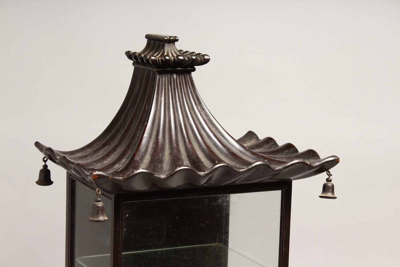 A GOOD GEORGIAN DESIGN CHINESE STYLE, SHOW CASE with Pagoda top hung with bells 20ins high, 8ins - Image 2 of 6