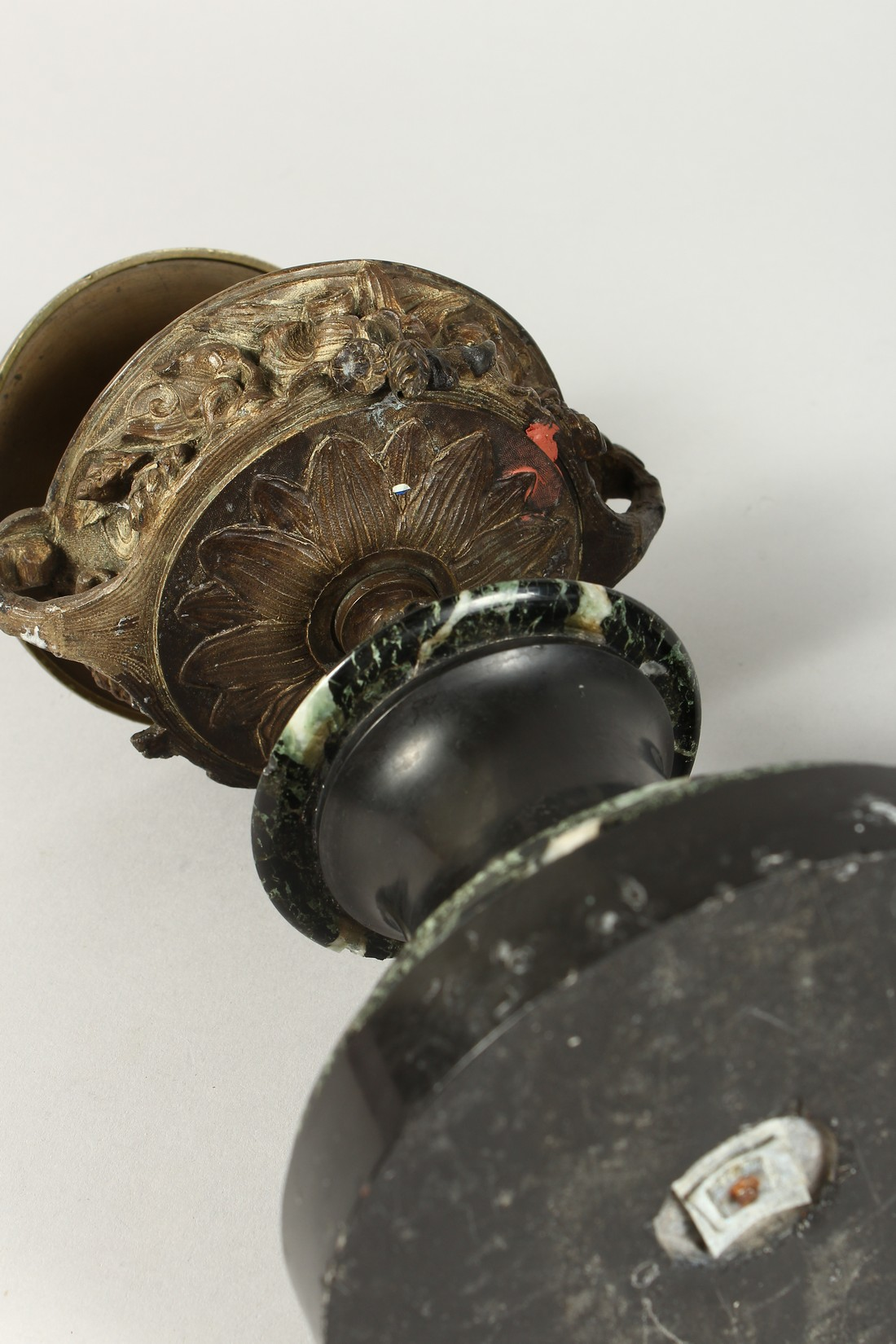 A PAIR OF BRONZE TWO HANDLED URNS AND COVERS on circular marble bases. 10ins high. - Image 5 of 6
