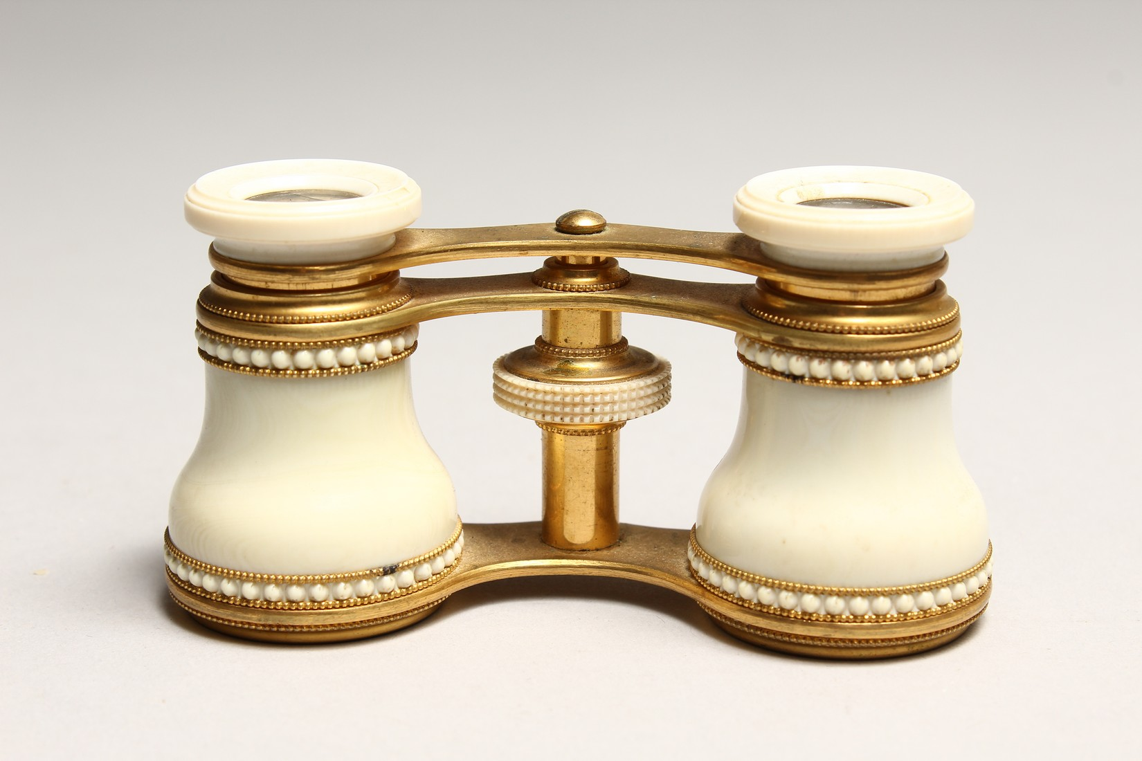 A PAIR OF IVORY AND GILT OPERA GLASSES 4.6ins long. - Image 2 of 6