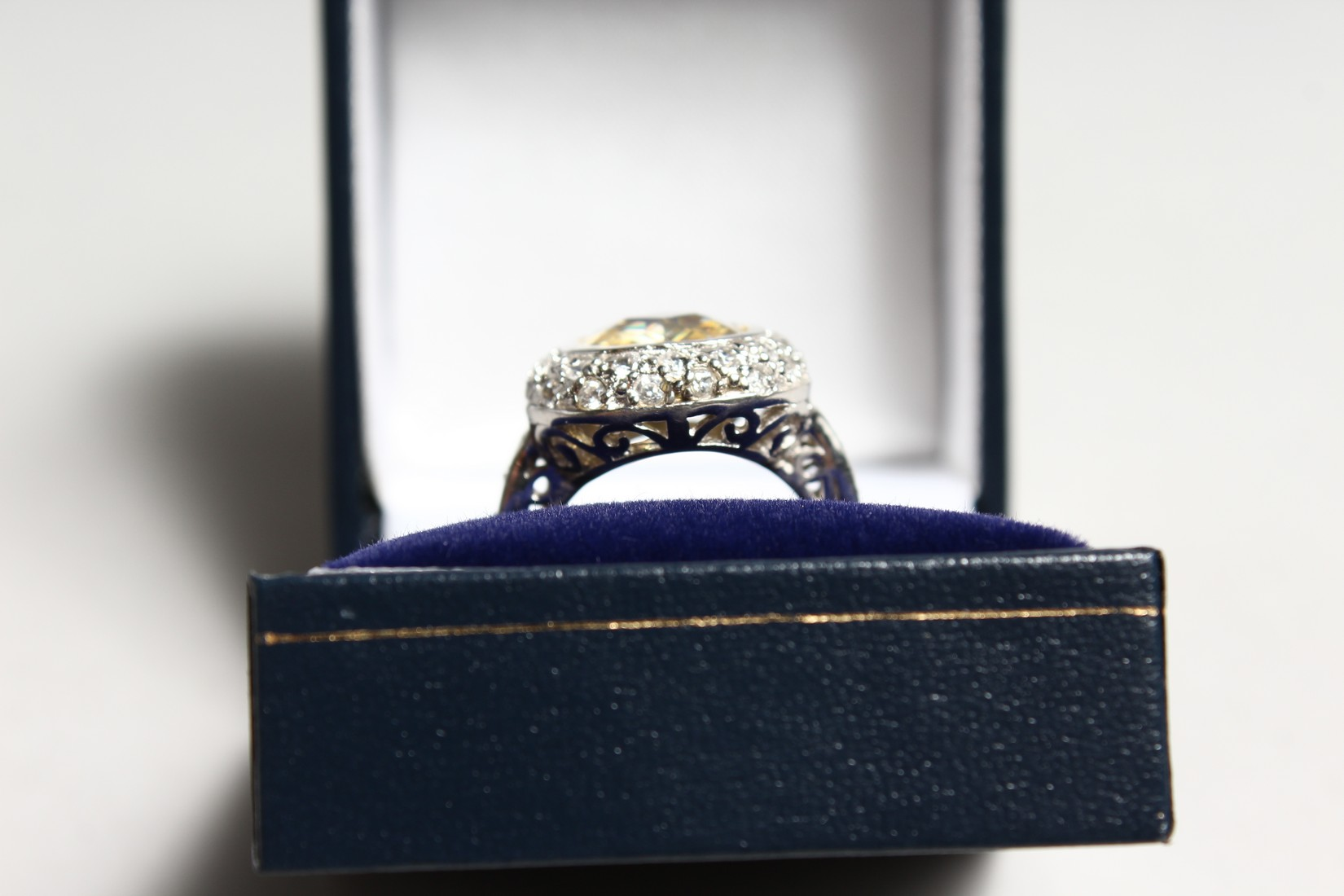 A SILVER CZ AND YELLOW RING - Image 3 of 3