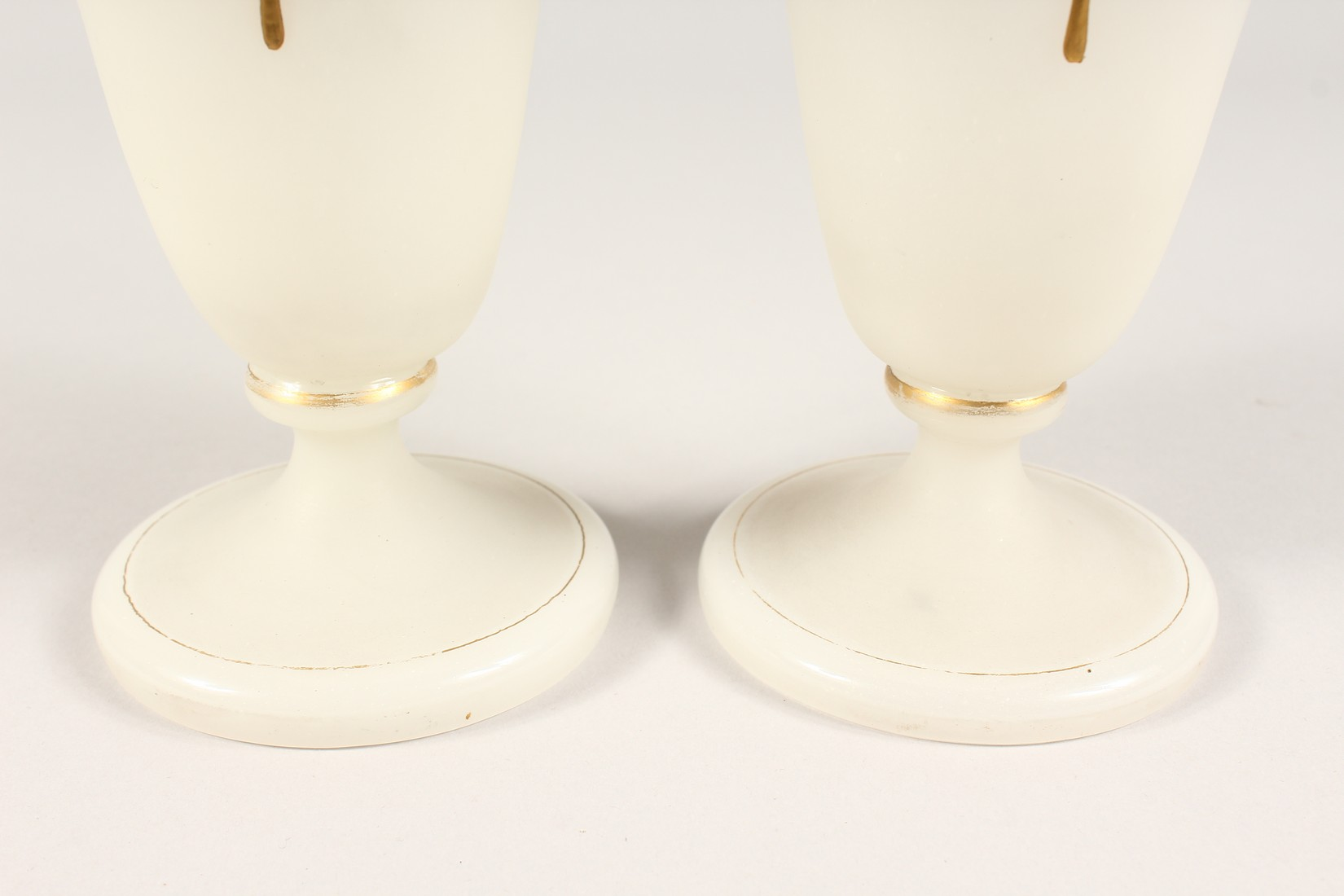 A PAIR OF CAMEO CLASSIC FROSTED VASES with a black cameo with gilt decorations 12ins high. - Image 9 of 10