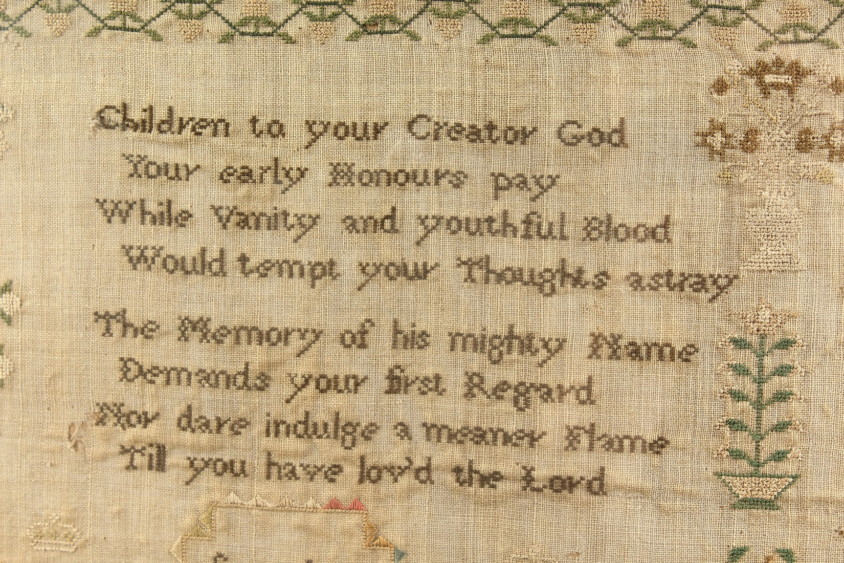 AN 1823 NEEDLEWORK SAMPLER by Sarah Stafford, age 10. 12.5ins x 5ins - Image 2 of 4