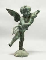 AN 18TH CENTURY LEAD FOUNTAIN as a winged cupid holding a fish, on an octagonal base. 2ft 5ins