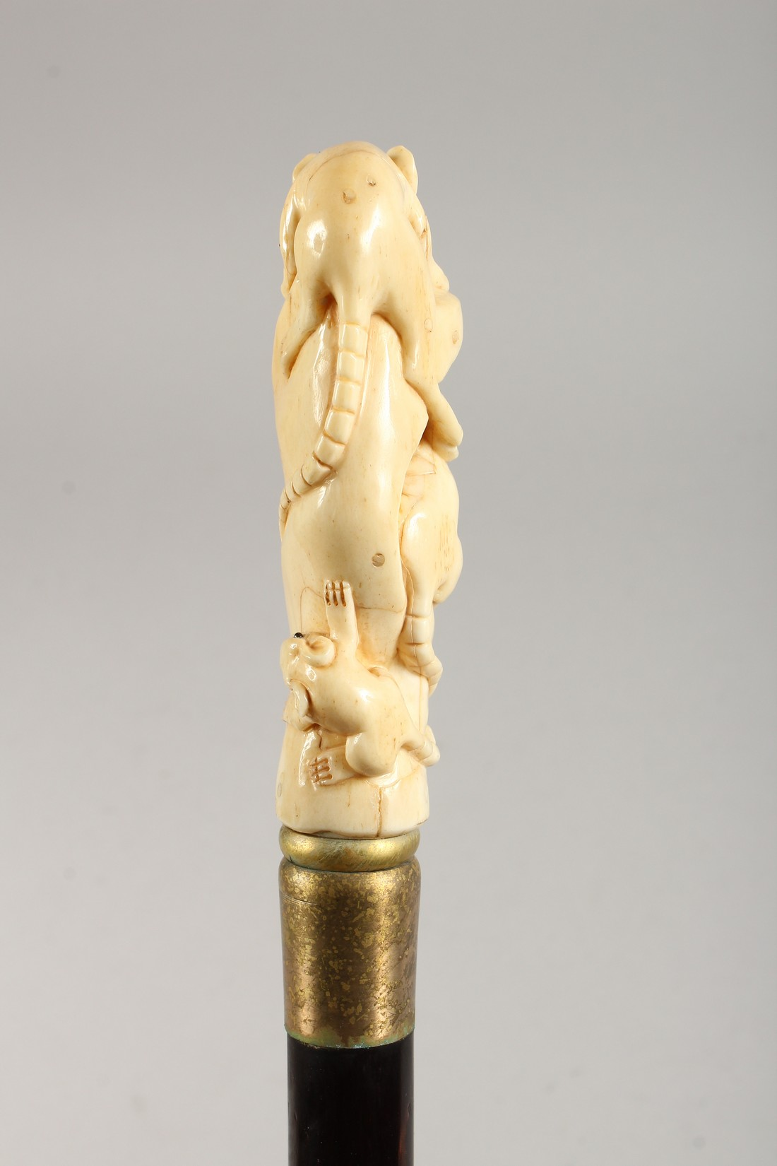 A WALKING STICK, the bone handle carved as rats. - Image 3 of 5