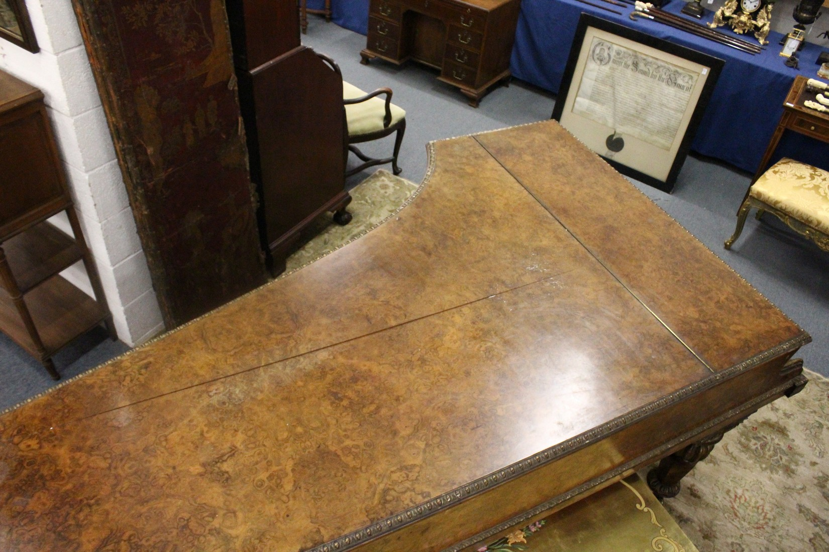 JOHN BROADWOOD & SONS, A good late 19th Centruy figured walnut Grand Piano, on turned and tapering - Image 9 of 19