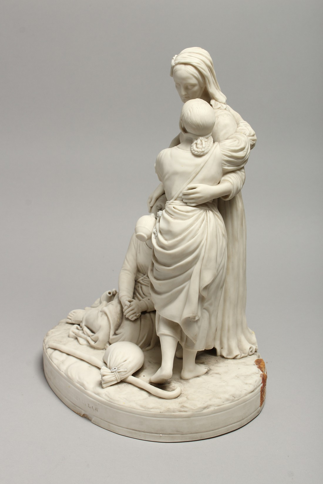 """A LATE 19TH CENTURY PARIAN WARE GROUP """"NAOMI AND HER DAUGHTER IN LAW"""". 13 ins high. - Image 7 of 8"""