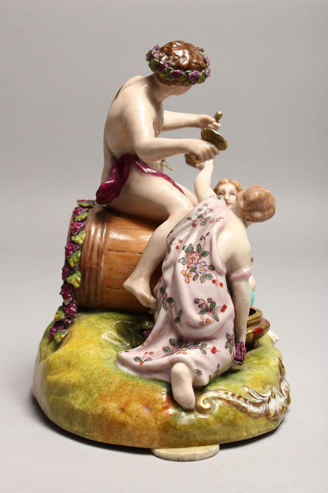 A GOOD 19TH CENTURY CONTINENTAL POTTERY GROUP depicting the grape harvest, one sitting on a - Image 6 of 7