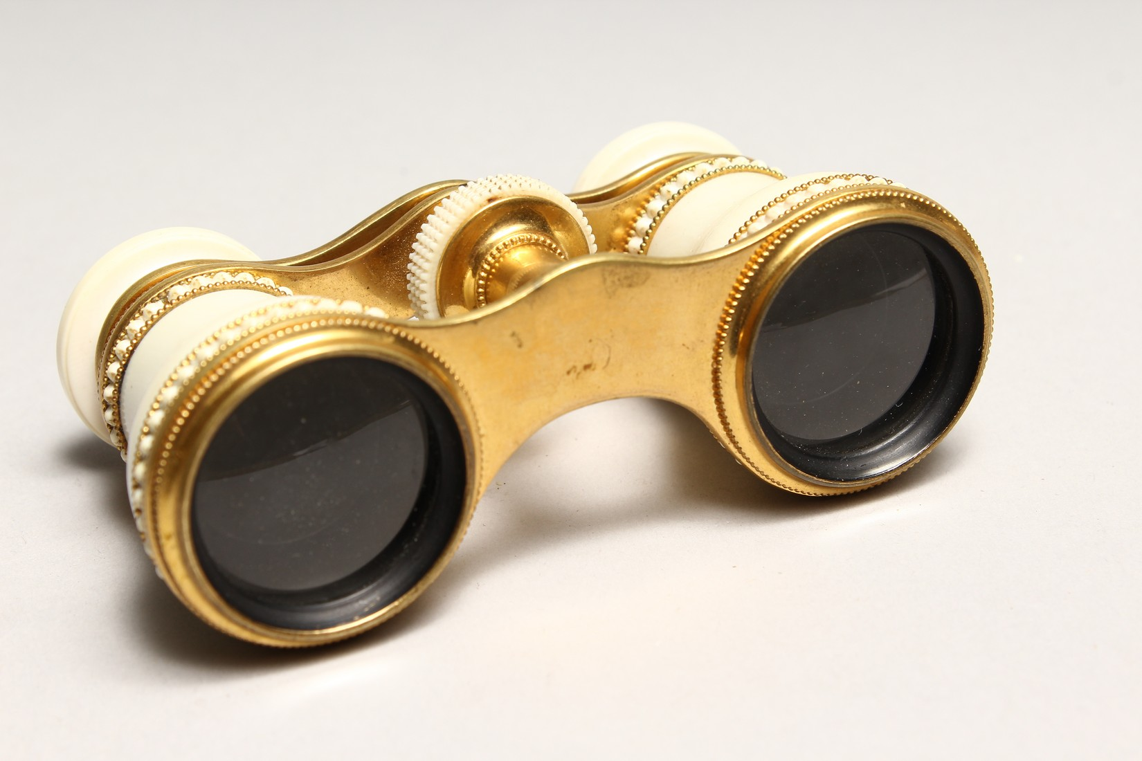 A PAIR OF IVORY AND GILT OPERA GLASSES 4.6ins long. - Image 5 of 6